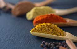 Colorful herbs and spices. In wooden spoons on black stone Stock Image
