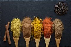 Colorful herbs and spices stock photo
