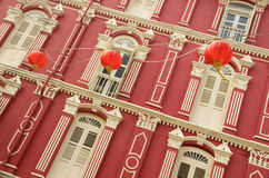 Colorful Heritage Windows and Chinese Lanterns, Singapore Royalty Free Stock Photos