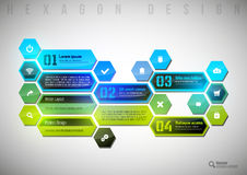 Colorful Hexagon. Abstract shining layout as colorful hexagons. Modern infographics design elements Royalty Free Stock Photography
