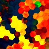 Colorful hexagon background. Abstract artistic design internet illustration. Changing colors pattern. Poster digital display. Hexagonal shape / form. Tiles / Stock Photo
