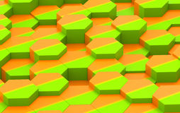 Colorful Hexagon Background Texture. 3d render. Colorful Green and Orange Hexagon Background Texture. 3d illustration Royalty Free Stock Photos