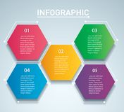 Colorful hexagon infographic vector template with 5 options. Can be used for web, diagram, graph, presentation, chart, report, ste. P by step infographics Royalty Free Stock Photos