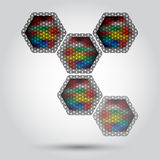 Colorful hexagon lights Royalty Free Stock Image