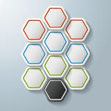 10 Colorful Hexagon Options. 10 colorful hexagons on the grey background. Eps 10  file Stock Photo