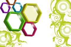 Colorful hexagon ring, abstract background Stock Image