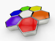 Colorful hexagonal shapes Stock Image