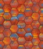 Colorful Hexagonal Tiled Seamless Texture. Colorful hexagonal metal tiles as a high detail seamless background stock photos
