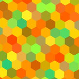 Colorful hexagons illustration. Color art. Warm color mix. Tech matrix. Web site header graphics. Happy holiday back. Frame. Stock Photos