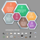 Colorful hexagons vector template  for infographics Stock Photos