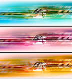 Colorful hi-tech background set. Set of three color different abstract hi-tech backgrounds which can be used as a graphic background for headers on internet or Royalty Free Stock Photography