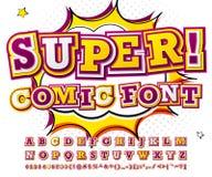 Colorful high detail comic font, alphabet. Comics, pop art vector illustration