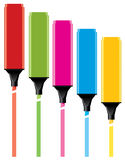 Colorful highlighters Stock Photos