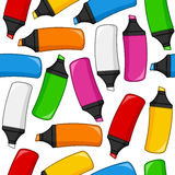 Colorful Highlighters Seamless Pattern Stock Image