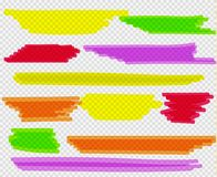 Colorful highlighters set. Yellow, green, purple, red and orange markers royalty free illustration