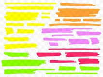Colorful highlighters set. Yellow, green, purple, red and orange markers. Transparent hand drawn brush lines. royalty free illustration