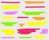 Colorful highlighters set. Yellow, green, purple, red and orange vector illustration