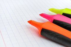 Colorful highlighters Royalty Free Stock Images