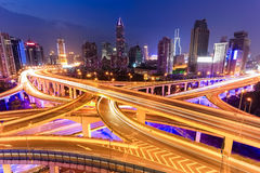Colorful highway overpass at night Stock Photo