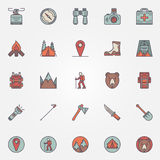 Colorful hiking icons Stock Image