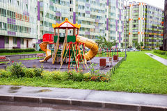Colorful сhildren's playground for kids in new district with ma Royalty Free Stock Photo