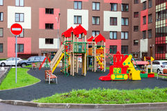 Colorful сhildren's playground for kids in new district with ma Stock Photography