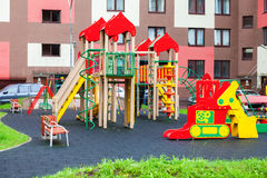 Colorful сhildren's playground for kids in new district with ma Stock Images