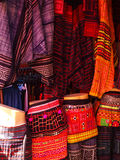 Colorful hill tribe fabric skirts in Chiang Mai, Thailand Royalty Free Stock Photo