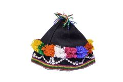 Hill tribe cap on white background with clipping path. Colorful hill tribe hat on white background with clipping path stock photo