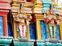 Colorful hindu statues on temple walls royalty free stock photos