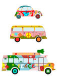 Hippies car. Colorful hippie car silhouette on a white background Royalty Free Stock Photography