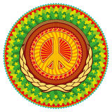 Colorful hippie emblem. Royalty Free Stock Image