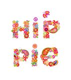 Colorful hippie lettering print with colorful abstract flowers, fly agaric and hippy peace symbol for t shirt design. Colorful hippie lettering print with royalty free illustration