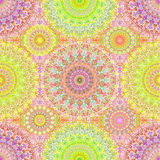 Colorful Hippie Mandala Seamless Pattern Stock Photo