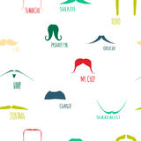 Colorful Hipster Moustache Icon Set. Vector Illustration, Mustaches big collection Royalty Free Stock Photography