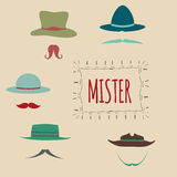 Colorful Hipster Moustache Icon Set. Vector Illustration, Mustaches big collection Stock Images