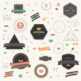 Colorful Hipster tag and badge icon collection set in retro styl Royalty Free Stock Photography
