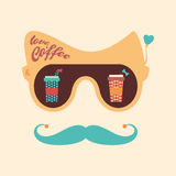 Colorful hipster vintage sunglasses with coffee cups. Stock Image
