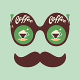 Colorful hipster vintage sunglasses with fragrant coffee. Stock Photography