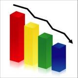 Colorful histogram. On white background, decrease concept Royalty Free Stock Photo