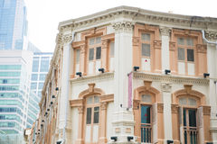 Colorful historic architecture, shophouses in chinatown, Singapo Royalty Free Stock Photos