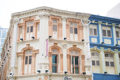 Colorful historic architecture, shophouses in chinatown, Singapo Stock Photos