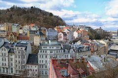 View of city Karlovy vary. Colorful historic buildings in Karlovy Vary, or Carlsbad, a spa town in Western Bohemia, Czech Republic stock photos