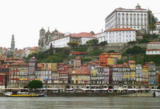 Colorful historical architectures of the riverfront area in Porto. Portugal Royalty Free Stock Photos