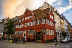 Colorful historical building in traditional style of Old Town, Copenhagen, Denmark. Scandinavian street. royalty free stock photography