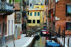 Colorful historical buildings and bridge, in Venice, Italy Royalty Free Stock Photos