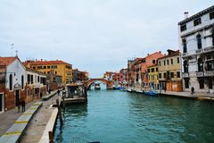 Colorful historical buildings and canal, in Venice, Italy Royalty Free Stock Image