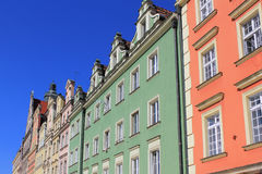 Colorful, historical Market square tenements.Lower Silesia, WROCLAW, Europe. Stock Photos