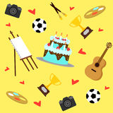Colorful Hobbies Equipment Pattern Stock Photography