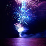 Colorful holiday fireworks Stock Photos